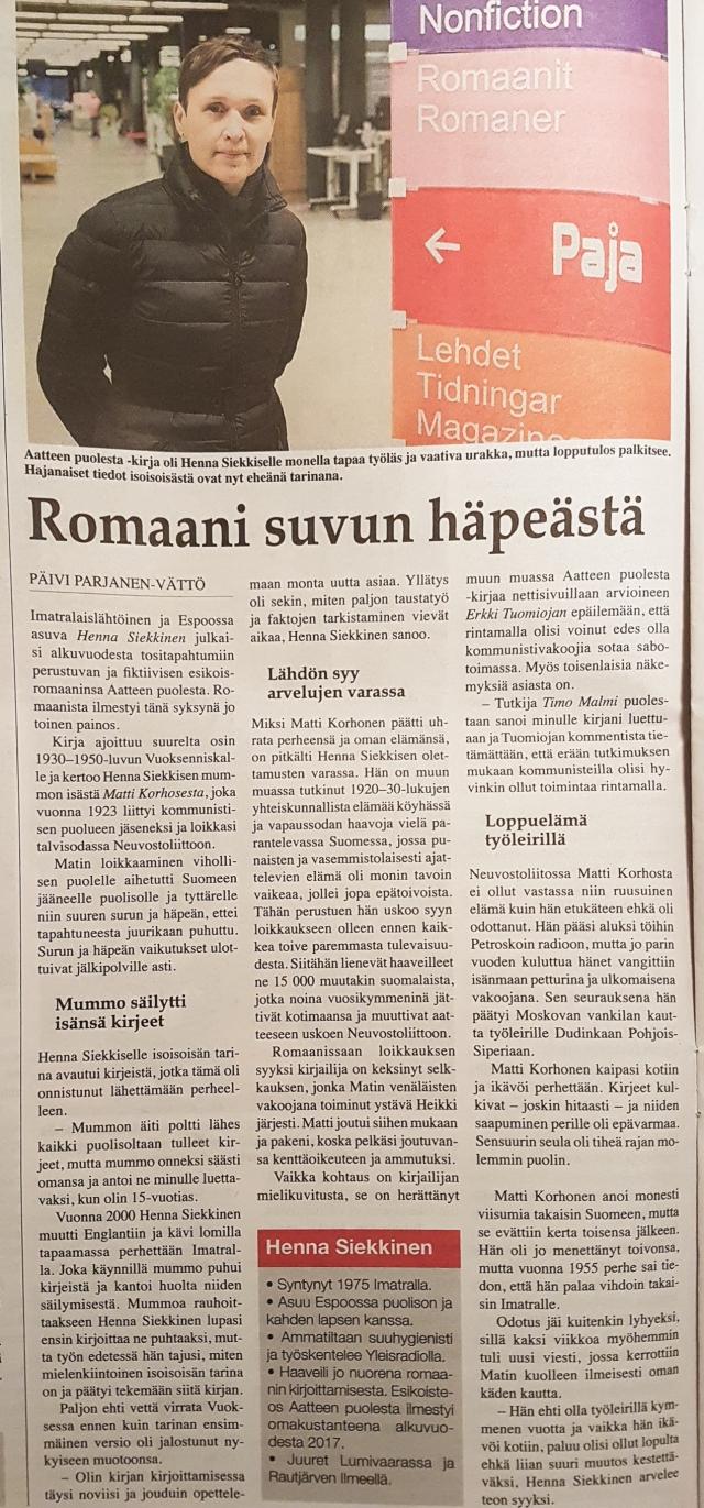 Karjala-lehti Henna Siekkinen